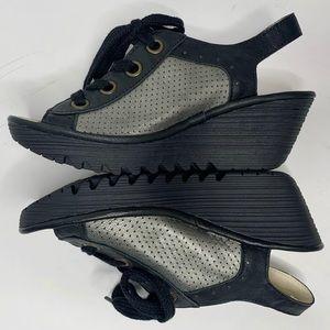 NWOT FLY LONDON Yiva Platform Wedge Lace-Up Sandal